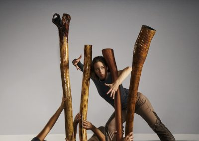 Marie-Eve Lafontaine in a didgeridoo forest @Vitor Munhoz