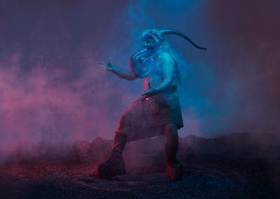 Roger Sinha didjeridou et masque 30 ans Sinha Danse @Damian Siqueiros